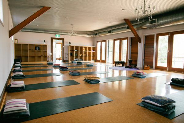 A look at The Yoga Shed's luxurious stuido, with yoga mats all set up